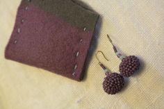 crochet beads ball earrings