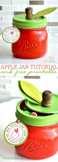 Gift Idea - DIY Apple Jar and Free Printable. Cute teacher gift.