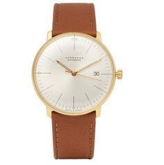 A classic watch with leather strap