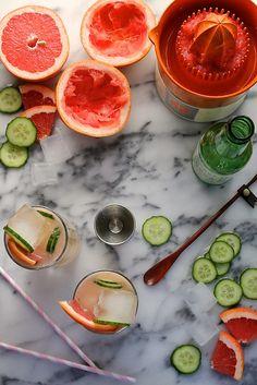 Grapefruit Cucumber Cocktails //