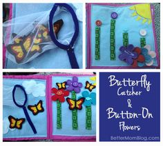 Butterfly and flower quiet book page