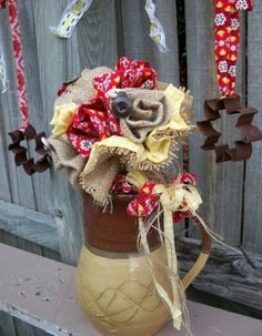 Items similar to Granny's Attic Wedding Country Red Calico Print Cotton Burlap Bouquet/Table Door Wall Kitchen Flower Decor on Etsy Red Country Weddings, Country Wedding Bouquets, Burlap Bouquet, Wedding Bride, Wreaths, Fall, Unique Jewelry, Handmade Gifts, Vintage