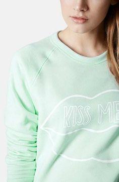 St. Patrick's Day gear: Topshop 'Kiss Me' Raglan Sleeve Sweatshirt