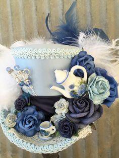 Blue Mini Top Hat, Alice in Wonderland Top Hat, Tea Party, Mad Hatter, Bridal…