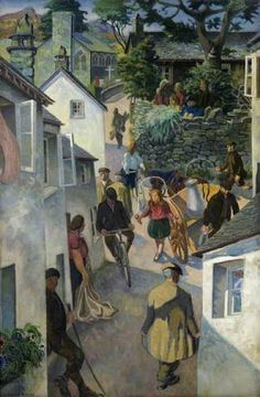 """Gilbert Spencer """"The School on Peggy Hill, Ambleside"""" (c. 1952)"""