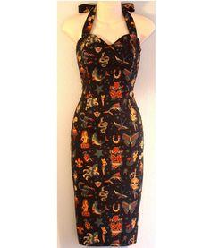 MADE TO MEASURE Black Tattoo Pencil Wiggle Skirt Dress  $100
