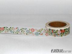 Bande de washi floral, fleurs dessin fleurs, printemps washi tape, ruban de papier imprimé, embellissement, washi tape, tape craft (0046)