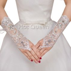 >> Click to Buy << Gloves Women Wedding Gloves Fingerless Ivory Lace Crystal Bridal Gloves Gelin Eldiveni for Wedding Accessories #Affiliate
