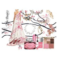"""Cherry Blossom Beauty"" by chayanit-ear ❤ liked on Polyvore featuring Monique Lhuillier, Louis Vuitton, Twigs & Honey, Shaun Leane, Gucci and Stila"