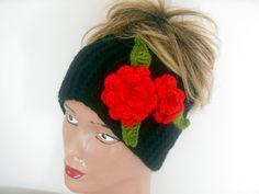 Headband Knitting, Crochet Headband, Black Headband, Ear Warmers, Turban, Boho Headband, Women Headband, Gift Ideas,Jasminejasmine   Black