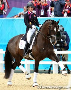 Charlotte Dujardin & Valegro - Olympic gold medalists.  Wearing a helmet too - good for her!