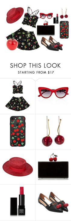 """""""Cherry Picked"""" by earthspalette on Polyvore featuring Dolce&Gabbana, Casetify, Chanel, Edie Parker, Make and Tony Moly"""