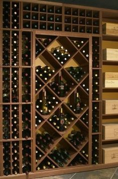 Individual wine display racks, wine storage bins or wine cases are components of a home wine cellar. See how to design your wine cellar racking. Wine Rack Storage, Wine Rack Wall, Wine Wall, Built In Wine Rack, Wine Rack Plans, Home Wine Cellars, Rustic Wine Racks, Wine Cellar Design, Do It Yourself Furniture