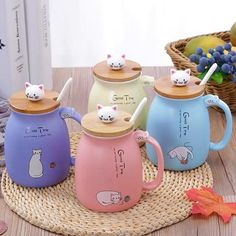 Kawaii Cat Mug – ivybycrafts Kawaii Room, Kawaii Cat, Cute Kitchen, Kitchen Items, Cute Water Bottles, Kawaii Accessories, Cute Room Decor, Cute Cups, Cat Mug