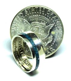 Silver half dollar coin and Turquoise wedding band engagement ring Turquoise Wedding Band, Coin Ring, Dollar Coin, Half Dollar, Unique Colors, Wedding Bands, Two By Two, Coins, Rings For Men