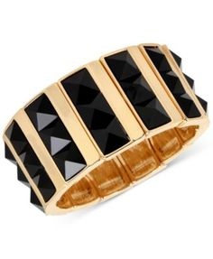 """M. Haskell for INC Gold-Tone Faceted Jet Stone Rectangle Stretch Bracelet, Only at Macy's $29.62 Maximize the drama with this ultra-cool faceted jet stone rectangular stretch bracelet fashioned by M. Haskell for INC in gold-tone mixed metal. Approximate diameter: 2-1/4""""."""
