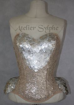 nude sequin overlay and coutil fabric overbust corset with 4 inchs reduction