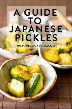 Tsukemono are the Japanese pickles served alongside rice and miso soup. Find out more about the different types of Tsukemono you may encounter in a Japanese meal. Guide To Japanese, Easy Japanese Recipes, Japanese Dishes, Asian Recipes, Healthy Recipes, Yummy Recipes, Japanese Pickles, Sushi, Homemade Pickles