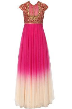 Magenta and ivory shaded zardozi embroidered anarkali set available only at Pernia's Pop Up Shop.