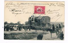 French postcard showing the transport of corpses out of the town from Adana massacres.