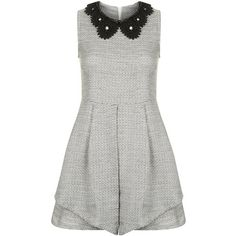 **Embellished Collar Dress by Sister Jane ($89) ❤ liked on Polyvore featuring dresses, vestidos, grey, sleeveless collared dress, sleeveless pleated dress, embellished collar dress, cut out dresses and gray dress