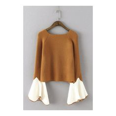 Yoins Cute Brown Round Neck Long Flares Sleeves Sweater ($27) ❤ liked on Polyvore featuring tops, sweaters, long tops, flared sleeve top, round neck top, long length sweaters and long sweater