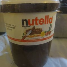 """Who would like to grab a spoon and help us with the large jar of Nutella?  #Chocolate #Nutella #NutellaChocolate #chocolatehazelnut #hazelnutchocolate"""