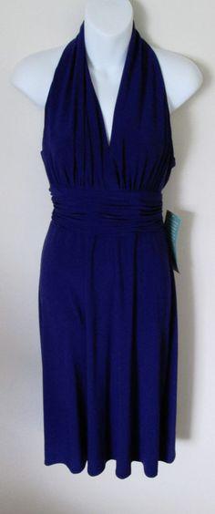 Jones Wear Dress Size 10 NEW Purple Halter Style Ruched Waist Special Occasion #JonesNewYork #EmpireWaist #Formal