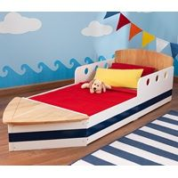 BOAT TODDLER BED | Boat Sea Sailor Themed Room |  Nautical Inspired | Blue and White | Unique Kids Bed | Available at cuckooland.com