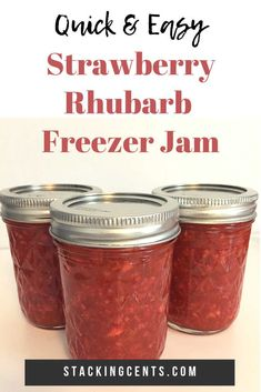 This quick & easy strawberry rhubarb freezer jam recipe is so delicious! The simple, small batch recipe makes 2 pints of jam using only four ingredients. It's a spring recipe staple! Rhubarb Jam Recipes Canning, Rhubarb Freezer Jam, Strawberry Rhubarb Recipes, Strawberry Freezer Jam, Freezer Jam Recipes, Jelly Recipes, Canning Recipes, Easy Rhubarb Recipes, Canning Tips