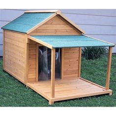 60 Best Dog House Plan Ideas for Your Beloved Pets These cost-free DIY dog house plans will make certain that your dog has a safe haven from the weather and also you can take pride that you built it j Dog House With Porch, Large Dog House, Dog House Bed, Build A Dog House, Dog House Plans, Puppy House, Pallet Dog House, Insulated Dog House, Cool Dog Houses