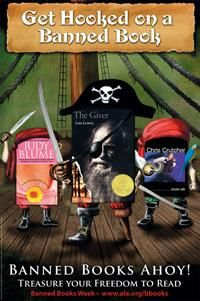 Spotlight on YA: Awesome Banned Books Week poster featuring 3 greats, Judy Blume, Lois Lowry, and Chris Crutcher!