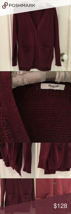 ‼️PRICE DROP‼️Madewell burgundy knit sweater 🎁Offers encouraged & flexible                                                                                🔑Bundle to save 15%                                                                                                   ✍Comment if you have questions                                                                                                  62% cotton 20% viscose 14% nylon. Thick knit front buttoned sweater. Madewell Sweaters