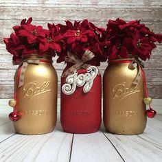 Christmas Mason Jars, Christmas Home Decor, Holiday Home Decor, Red