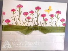 Wild about flowers, Stampin'Up!, brick wall folder, Garden in Bloom, birthday cards, thank you cards, thinking of you cards