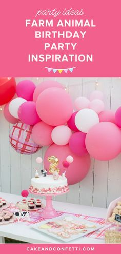 Farm Animal Party Theme Inspiration for Girl Toddlers Farm Animal Party, Farm Animal Birthday, Barnyard Party, Farm Birthday, Farm Party, Birthday Party Themes, Birthday Celebration, Birthday Cakes, Kids Party Tables