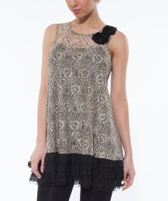 Another great find on #zulily! Lily Champagne Lace Ruffle Sleeveless Top by Lily #zulilyfinds
