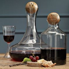 West Elm glass decanters w/ wood stoppers West Elm, Basement Paint Colors, Bar A Vin, Wine Carafe, Whiskey Decanter, Whiskey Bottle, Kitchen Canisters, Kitchenware, Kitchen Storage