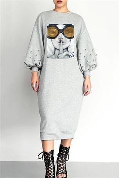 Shyfull Sexy Hollowed-out Ankle Length Dress Stylish Outfits, Fashion Outfits, Cheap Fashion, Stylish Clothes, Fashion Ideas, Midi Dress With Sleeves, Perfect Prom Dress, Sweatshirt Dress, Types Of Sleeves