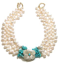 Helga Wagner Fresh Water Pearl teardrops with Turquoise chips and white Mother of Pearl Flower with Turquoise Cabochon set in 14 K gold and Tiffany clasp.