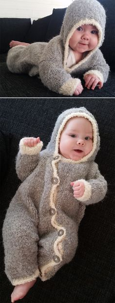 Free Knitting Pattern for Jiffy Baby Onesie - Hooded baby onesie with opening across front and leg with velcro for easy dressing. Quick knit in bulky yarn. To Fit Age: 3 Months to 18 Months. Designed byLion Brand Yarn. Pictured project by Ciandrin who added buttons instead of velcro.