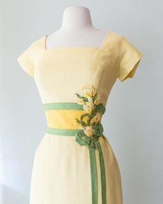 """X T A B A Y on Instagram: """"💐Just listed this gorgeous late 1950's yellow linen wiggle dress by Peggy Hunt on the website. Waist 27"""". Shop link in profile! 🌿 . . . . .…"""" Couture Details, Wiggle Dress, Summer Dresses, Photo And Video, Yellow, Fashion Design, Shopping, Instagram, Profile"""