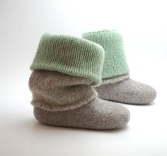 Boiled wool leg warmers green gray - knit leg warmers - felted organic wool warmers