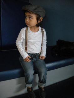 Suspender Trousers, Zara  Shirt, H    Hat, Gap  Shoes, Toms