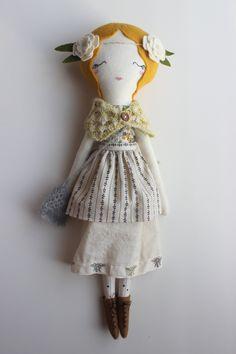 Cloth Heirloom Doll 18.5 ish tall handmade by libertylavenderdolls