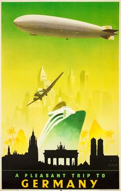 Germany vintage travel poster  Jupp Wiertz  ca.1935  zeppelin  #airship