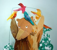 Bear and Birds Papercut and Collage Artwork by KateFete on Etsy