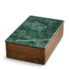 large wooden box with green marble lidsize: 20 x 13 x 6 cm