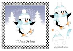 """Skating Penguin Christmas Topper on Craftsuprint designed by Janet Roberts - This cute topper will fit on the front of a 8""""x 8"""" card blank but it can be made smaller in any graphic program - Now available for download!"""