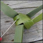 weaving a flax fantail step 12